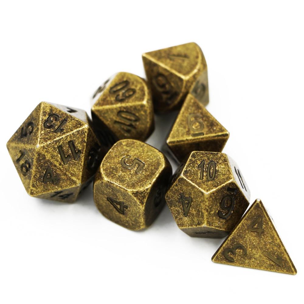 7 teile/satz Kreative RPG Würfel D & D Metall Würfel DND Spiel Würfel Set Verschiedene Bronze D4 D6 D8 D10 d12 D20 Polyhedral würfel