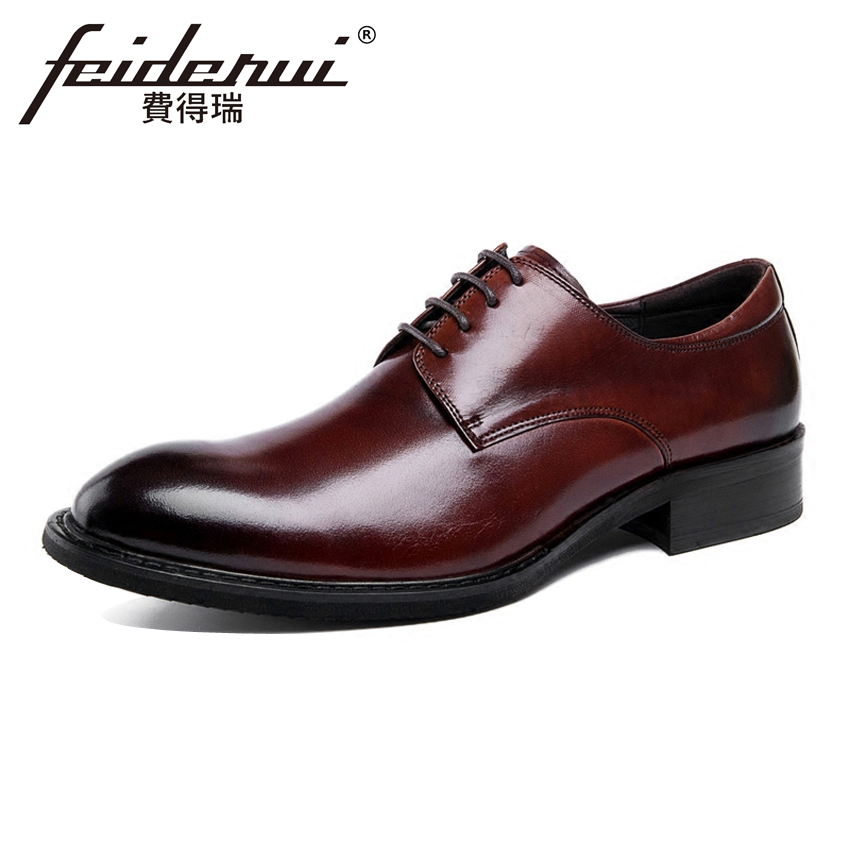Vintage Designer Genuine Leather Handmade Men's Footwear Round Toe Lace-up Derby Man Formal Dress Wedding Party Shoes YMX162 elanrom summer men formal derby wedding dress shoes cow genuine leather lace up round toe latex height increasing 30mm massage