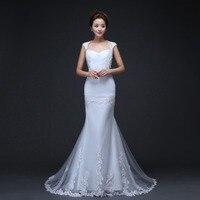 Elegant Long Mermaid Ivory Wedding Dresses 2016 Short Sleeves Bride Party Gown Vestidos de novia