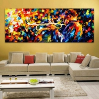 Midmight Blues Soul Trumpet Play Palette Knife Oil Painting Picture Printed On Canvas For Home Office