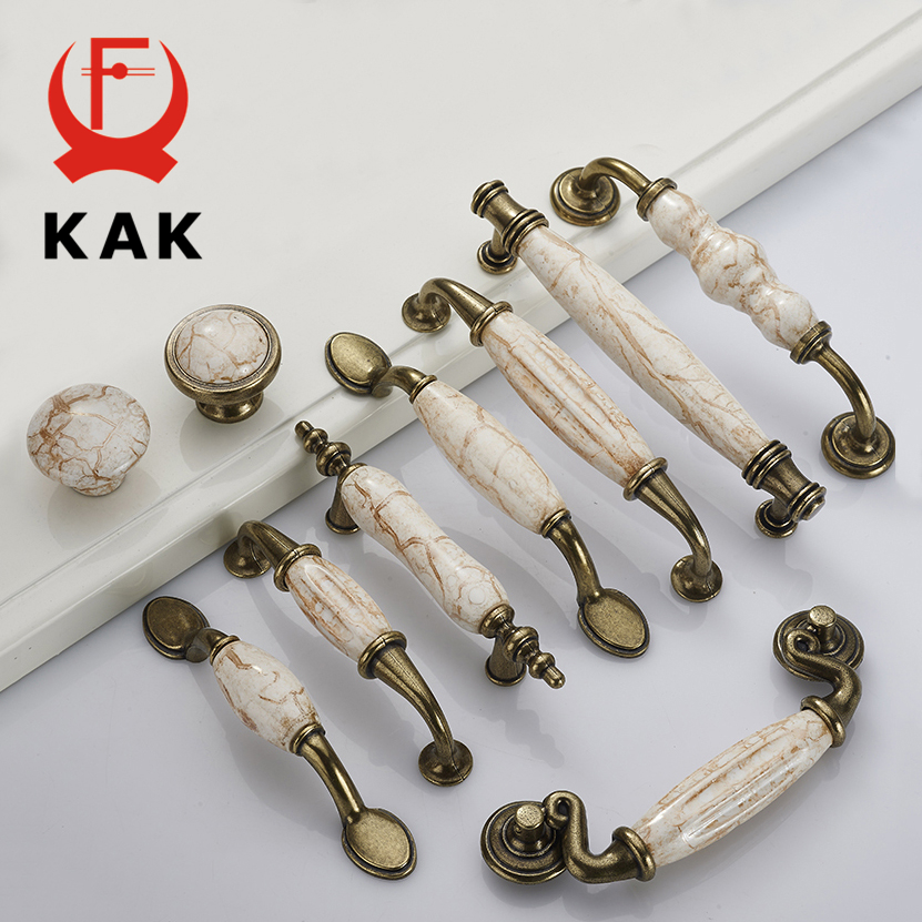 KAK Marble Lines Ceramic Cabinet Handles Zinc Alloy Drawer knobs Wardrobe Door Handles Antique Bronze European Furniture Handle