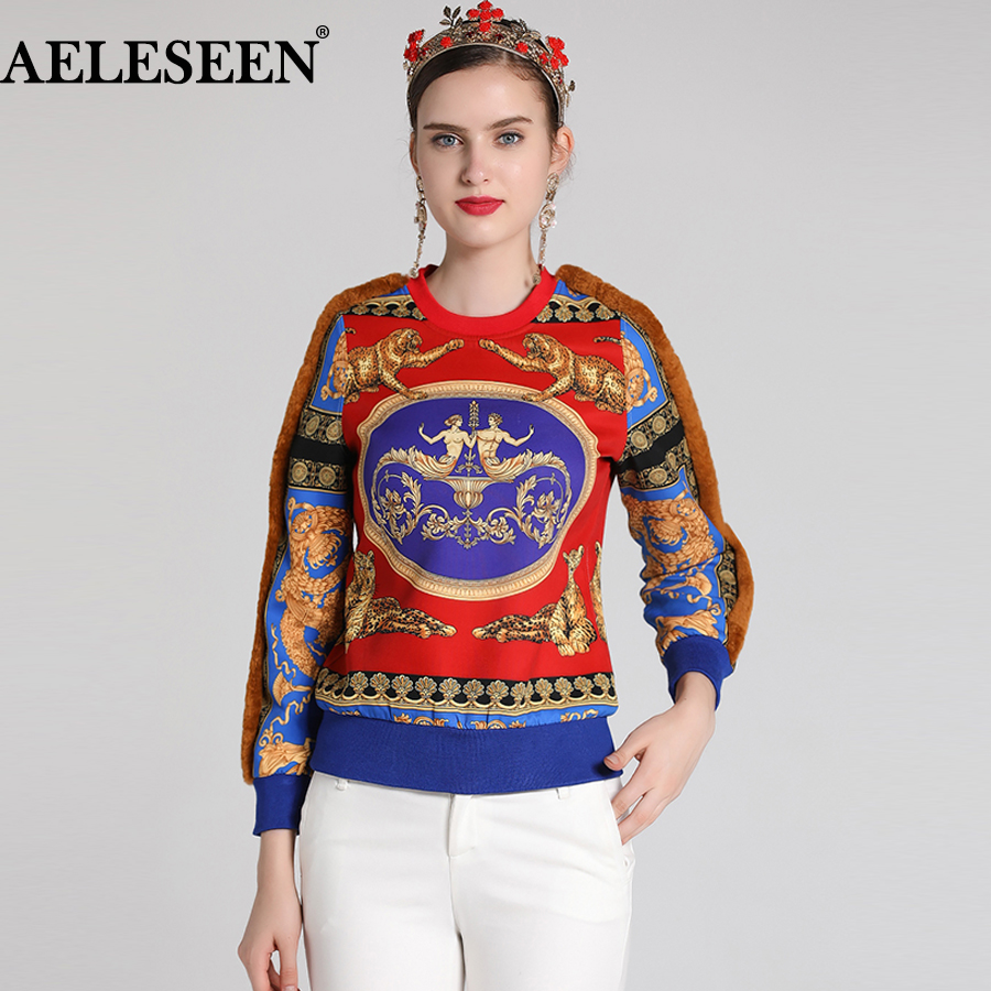 AELESEEN Vintage New Fashion Hoodie 2018 Winter Autumn Long Sleeve Leopard Print Patchwork Wool Luxury Runway