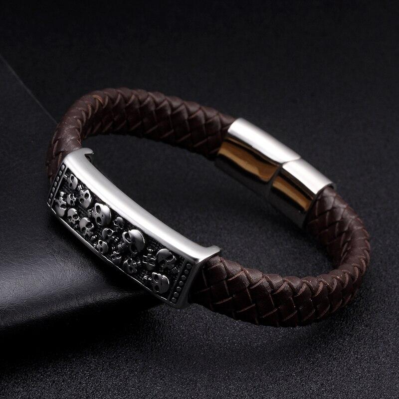 Black Genuine Leather Men Cuff Bracelet Bangles Luxury Braided Vintage Wrap Charm Bracelets Male Sporty Magnetic Clasp Jewelry