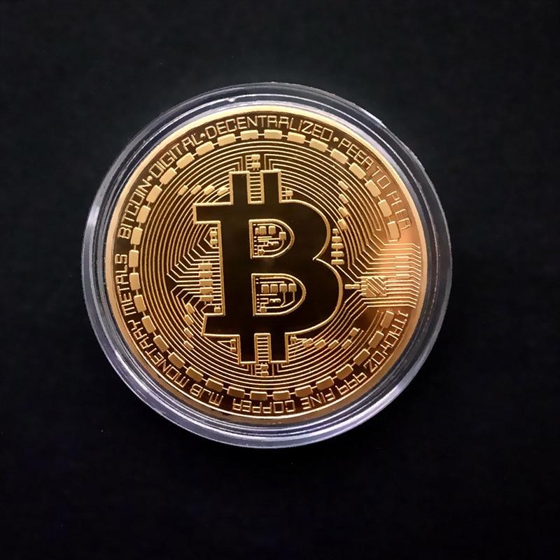 Позолоченные физические биткоины Бит монета BTC с Чехол подарок физический Металл антикварная имитация арт-коллекция монет BTC - Цвет: Gold have shell