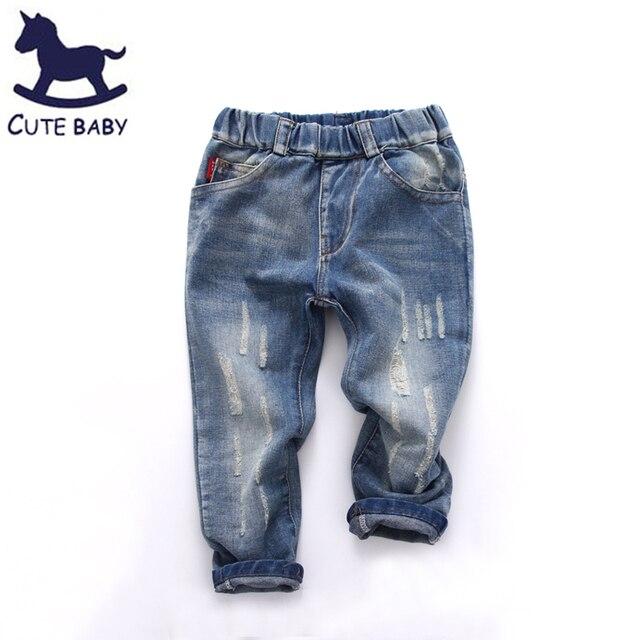 2016 мальчиков девушки джинсы дети сломанной штаны бренд мода весна и лето 2-10Y дети брюки детская одежда