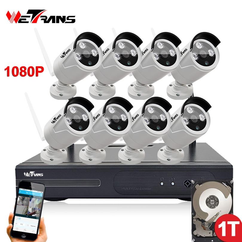 Wifi NVR Overvågningssæt Plug Play P2P 8CH 2.0MP HD 1080P 20m Natvision Vandtæt Udendørs trådløs DVR-kamera CCTV-sæt