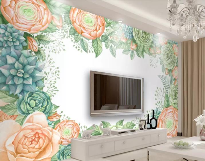 Custom photo wallpaper 3D Stereoscopic Hand painted flowers Wall Mural Living Room Bedroom TV backdrop Wallpaper