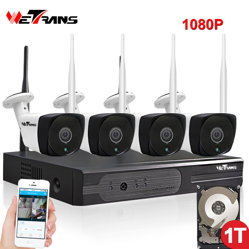 CCTV System Wireless 1080P HD Outdoor Waterproof 20m Night Vision Home Security P2P Wifi IP NVR Camera Video Surveillance Kit wistino cctv bullet ip camera xmeye waterproof outdoor 720p 960p 1080p home surverillance security video monitor night vision