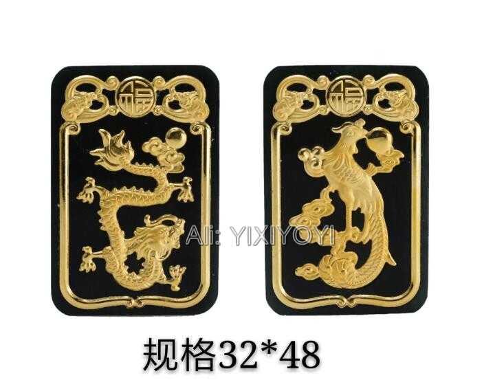 ธรรมชาติที่ยอดเยี่ยมสีดำสีเขียว Hetian หยก + 18 K ทองจีน Dragon Phoenix Lucky จี้ + ฟรีสร้อยคอ Certificat Fine เครื่องประดับ