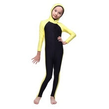 Selling Hot Kid Girls Islamic Muslim Full Cover Swimsuit Beachwear One-piece Hooded Swimsuit Costumes