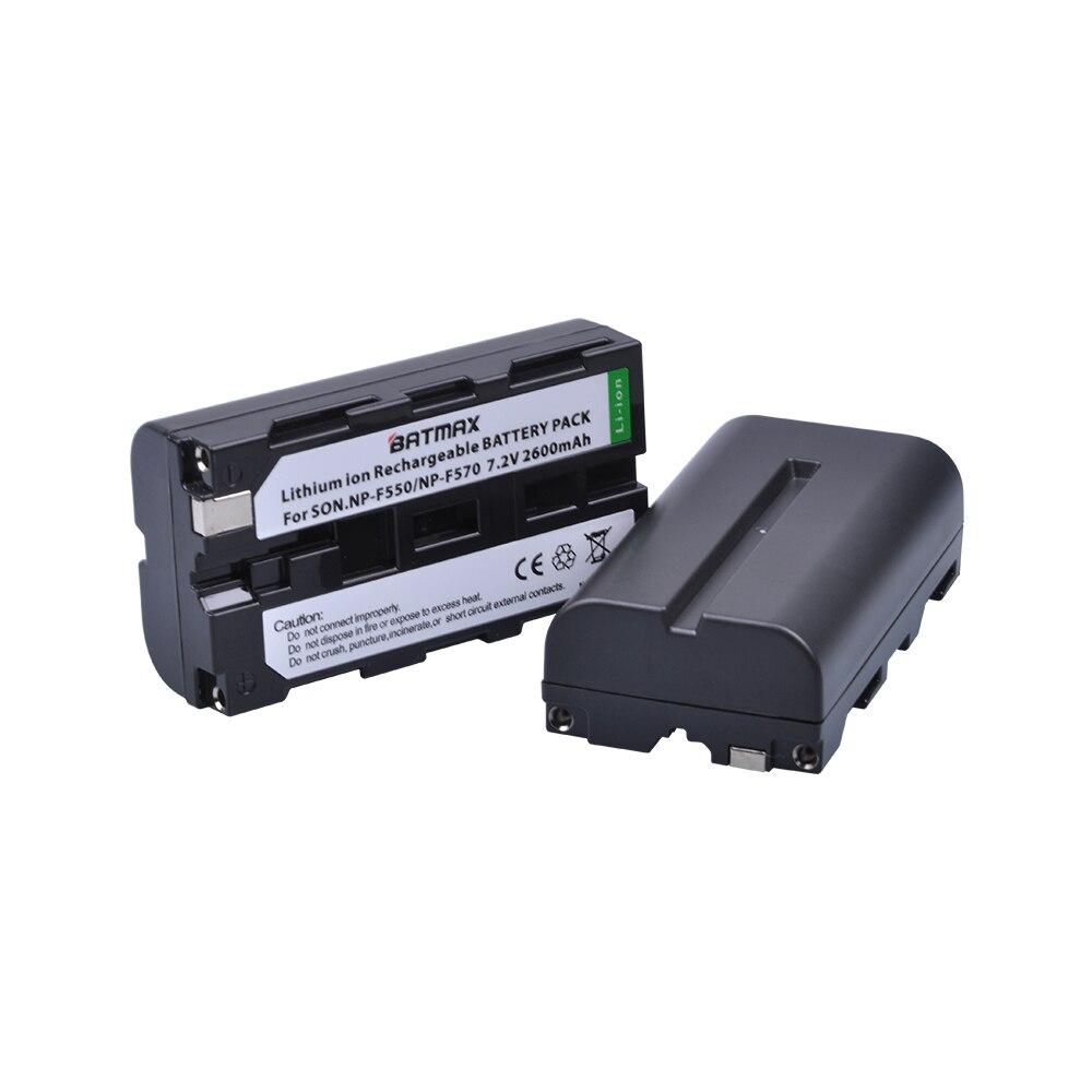 2Pcs 2600mAhNP-F550 NP F550 NPF550 Rechargeable Li-ion batteries for Sony NP-F330 NP-F530 NP-F570 NP-F730 NP-F750 Hi-8 np f960 f970 6600mah battery for np f930 f950 f330 f550 f570 f750 f770 sony camera