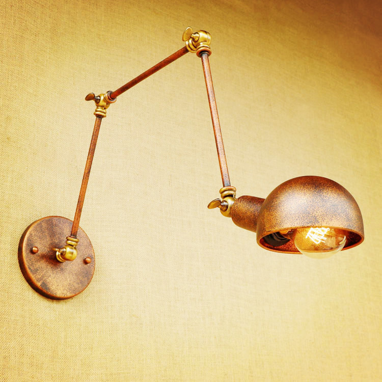 Rustic swing long arm wall light led sconce vintage wall lights rustic swing long arm wall light led sconce vintage wall lights for home loft industrial wall lamp applique murale luminaire aloadofball Image collections