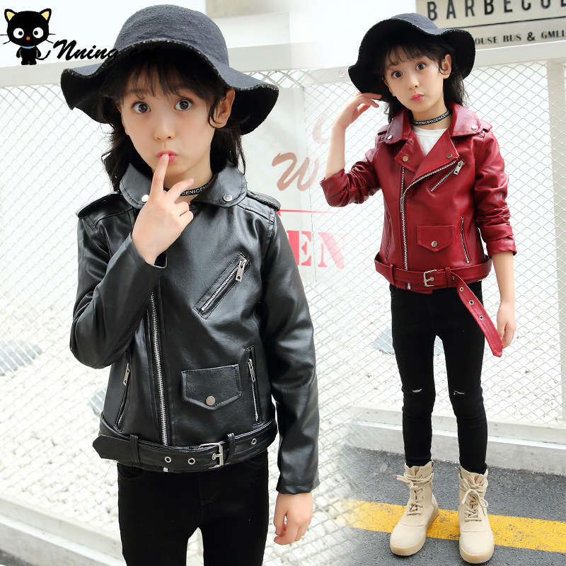 Spring Autumn PU Leather Jacket Girls Teenages Clothes Child Motorcycle Bomber Blazers 2018 Children Outerwear Coat развивающий набор магнитный алфавит м 01
