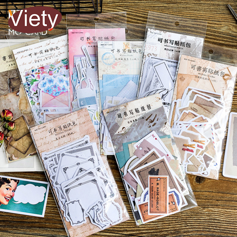 45 Pcs/bag Vintage Memories Writable Paper Sticker DIY Scrapbooking Diary Planner Decoration Sticker Album Stationery