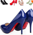 Plus Size 35-43 Candy Color High Heels Shoes Women Pumps Sexy Solid Color Red Bottom Wedding Shoes Casual Work Shoes