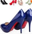 Plus Size 35 - 43 cor sapatos de salto alto mulheres bombas sapatos de casamento de fundo vermelho sapatos de trabalho casuais sólidos