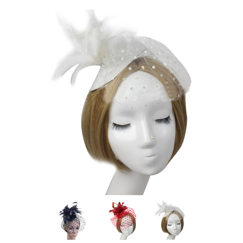Work Well Women Feather Net and Veil Hat Wedding Party Hair Clip ...