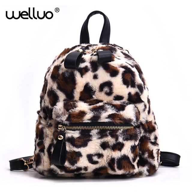 Women Mini Leopard Backpack Plush Fashion Shoulder Bag Girls SSmall Bags  Female Leisure Women Backpacks Mochila