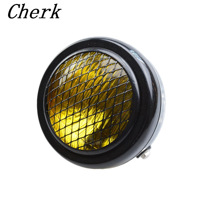 Headlamp Cover Mesh Grill Cafe Racer Bobber Universal Motorcycle Amber 6 1//2 Headlight