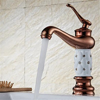 Bathroom Basin Faucets Brass Rose gold with Diamond Mixer Tap Single Handle Hot & Cold Washbasin Tap torneiras banheiro faucet