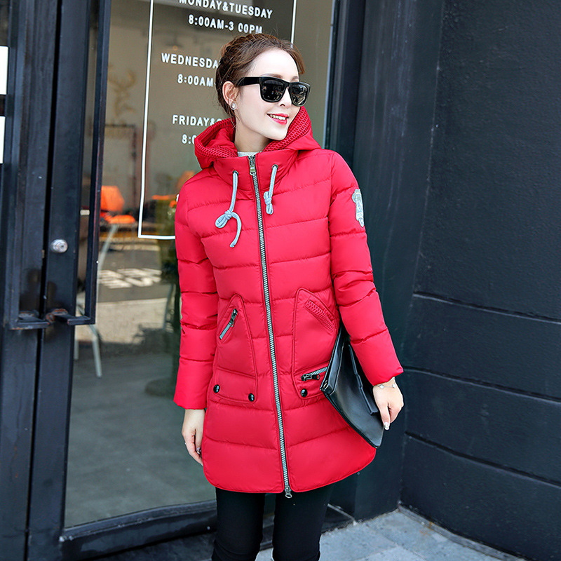 цены Pregnant women coat autumn and winter cotton fashion long section Slim was thin feather cotton clothing thickened cotton jacket