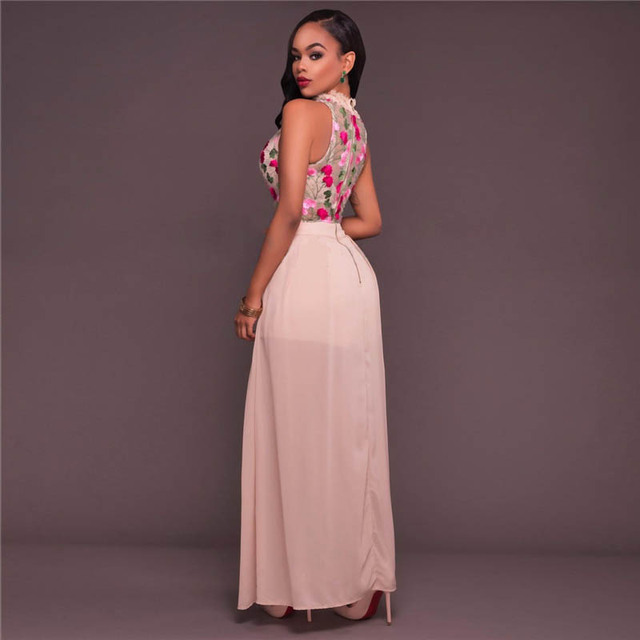 Mesh Floral Lace Perspective Lined Maxi Dress 5