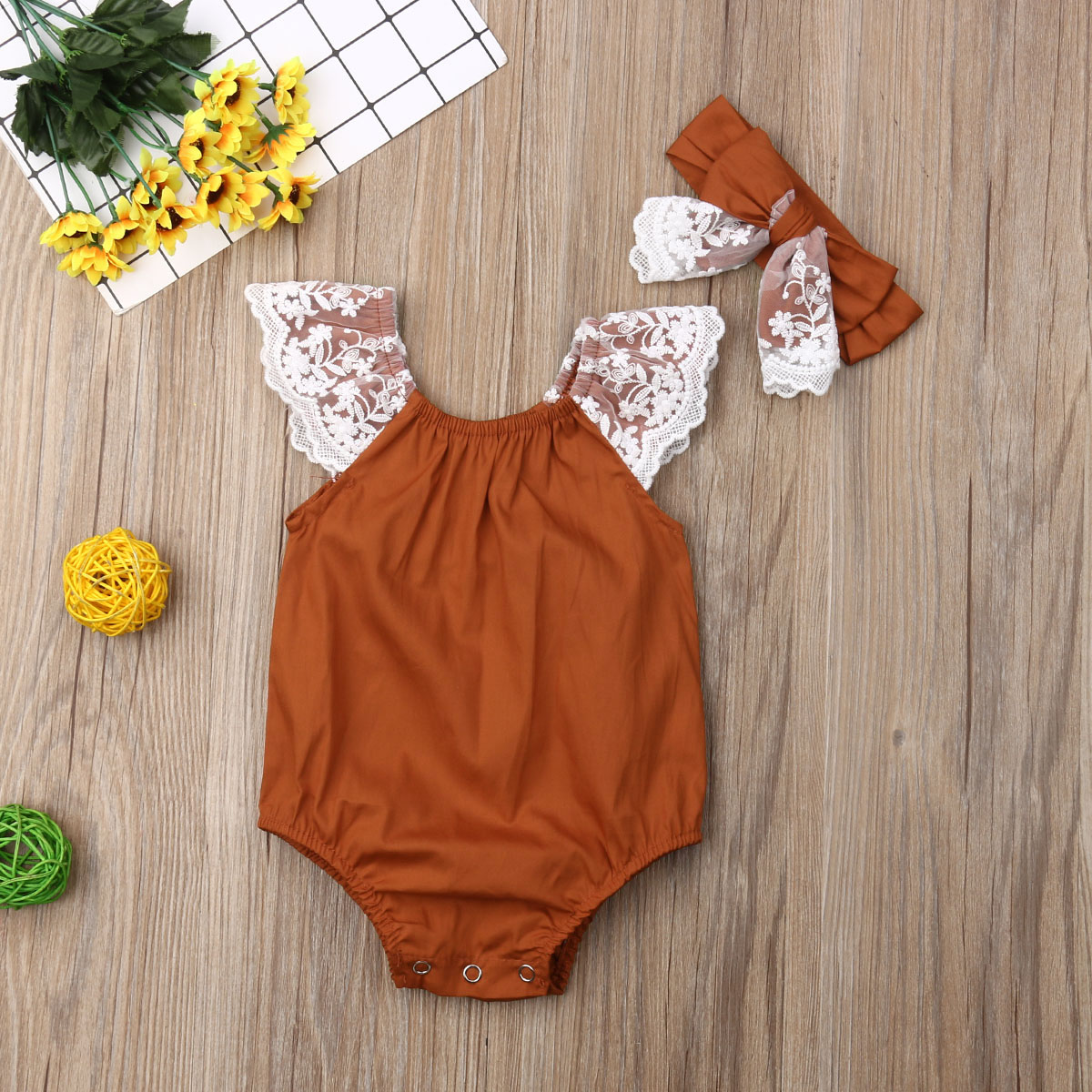 Pudcoco Newborn Baby Girl Clothes Solid Color Sleeveless Lace Ruffle Romper Jumpsuit Headband 2Pcs Outfits Cotton Clothes