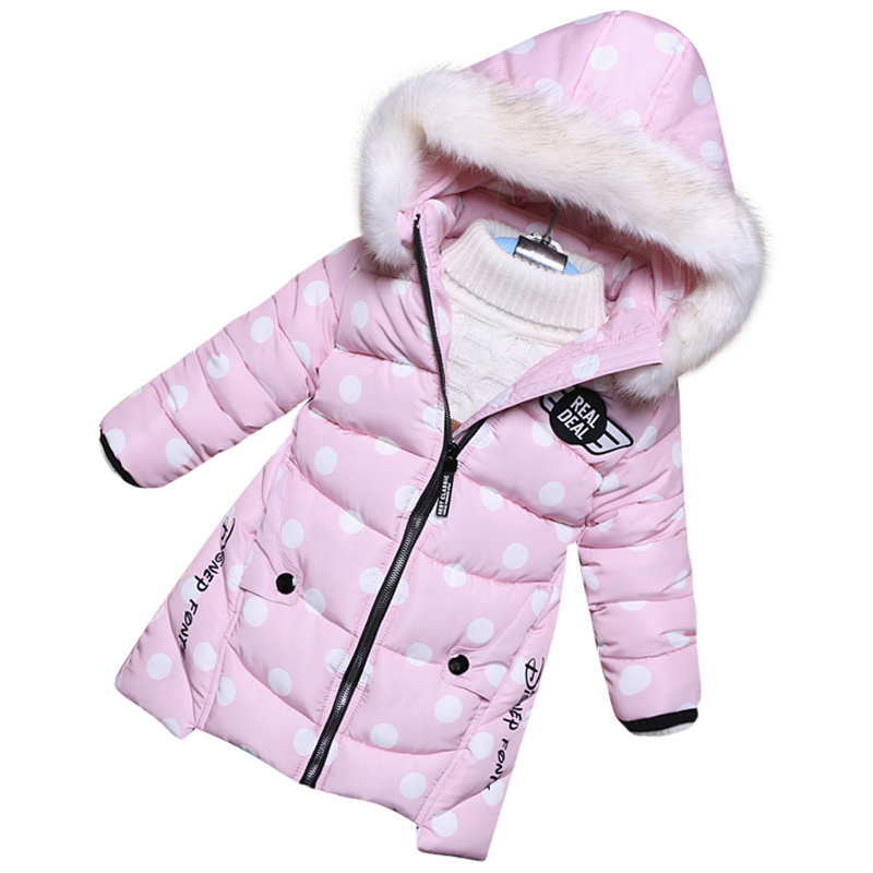 Baby Girl Warm winter Padded Coat Girls Down Jacket Children Fashion Brand Down Jackets Fur Collar Kids Parkas Hooded russia 2016 children outerwear baby girl winter wadded jacket girl warm thickening parkas kids fashion cotton padded coat jacket