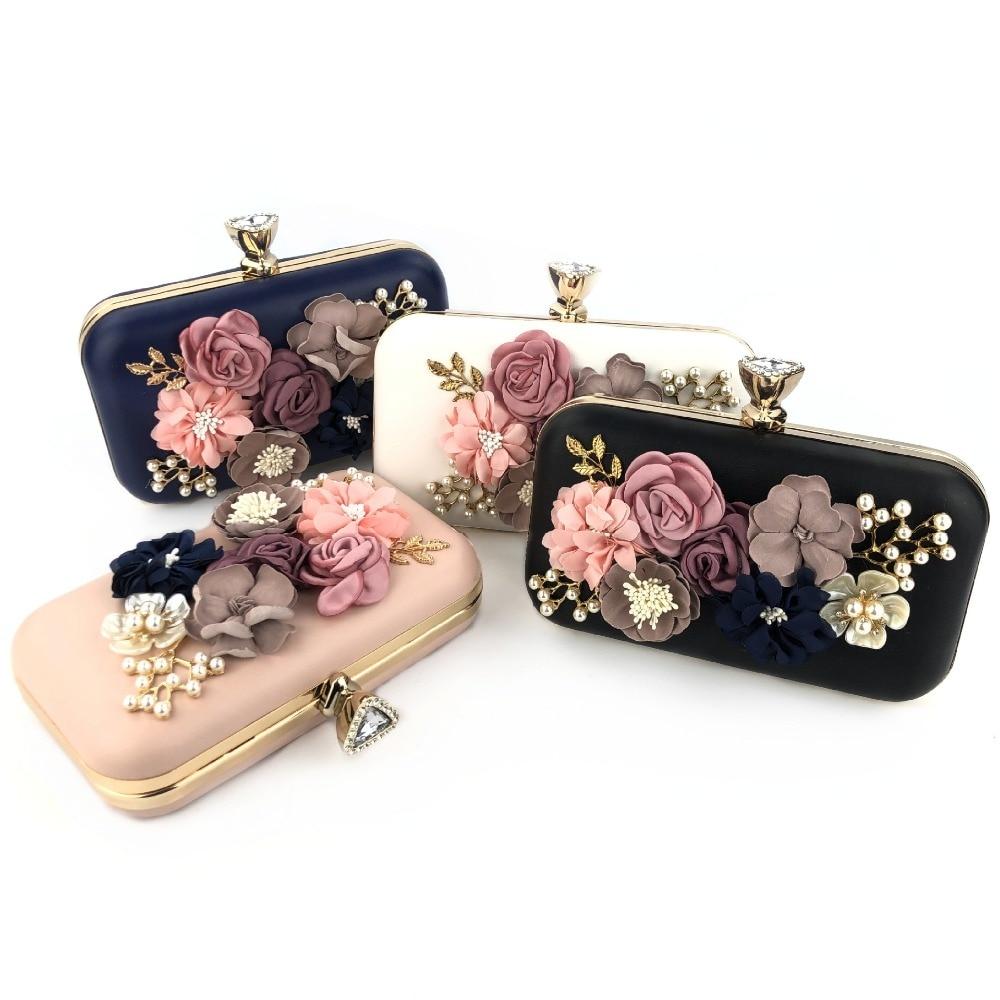 Flower Women Handbag Wedding Clutch Ladies Evening Bag Blue Handbags Day Clutches