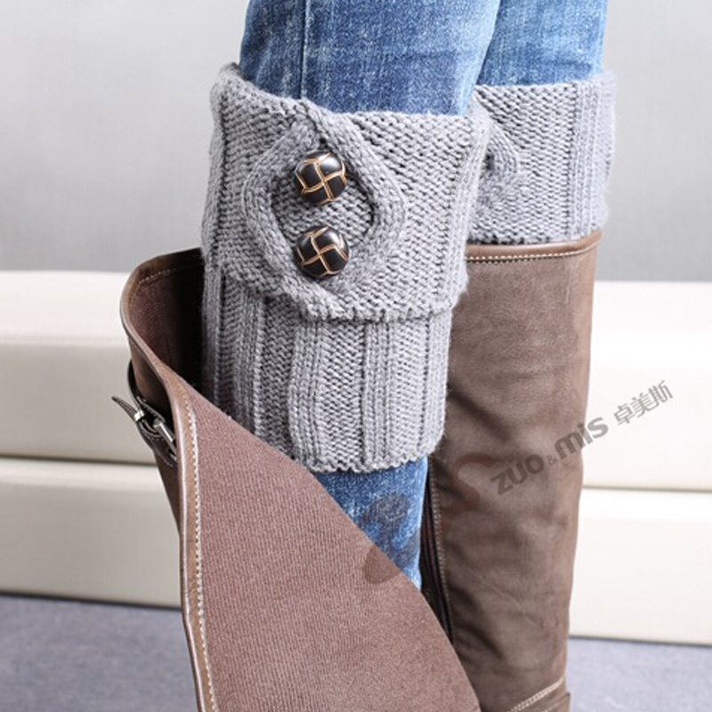 TOIVOTUKSIA Knit Boot Manset Tombol Crochet Boot Toppers Thermal Boot - Pakaian dalam - Foto 6