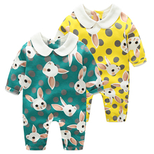 цены на YiErYing Baby Romper Autumn Rabbit 100% Cotton Baby Girls Clothes Thermal Long Sleeve Cartoon Printed Newborn Jumpsuits  в интернет-магазинах
