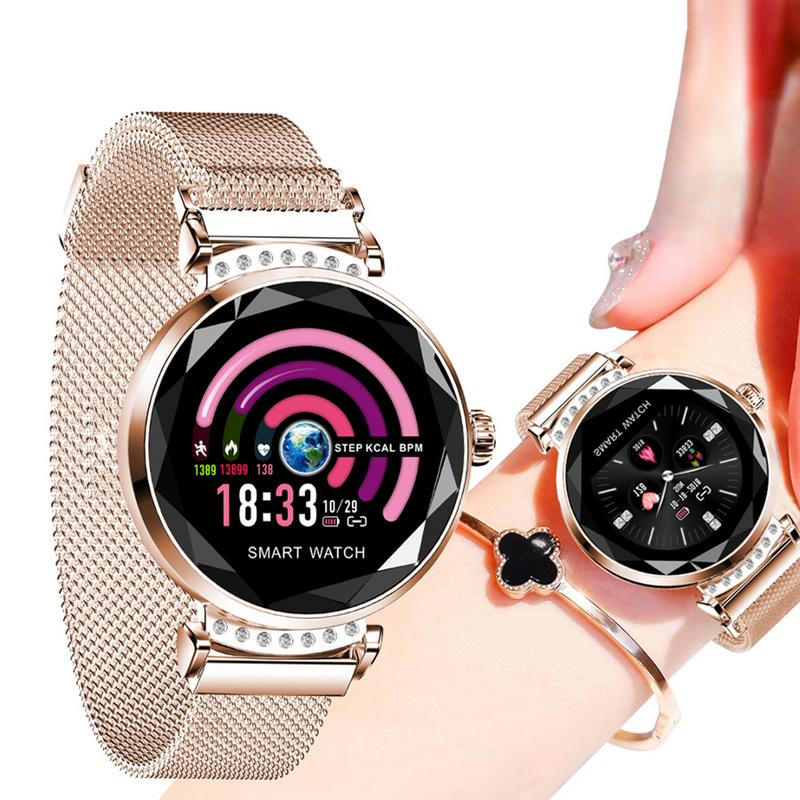 KARUNO H2 Smart Wristwatch Women's Watches 3D Diamond Glass Heart Rate Blood Pressure Sleep Monitor Waterproof Smart Watch