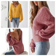 13004b2575 Women Solid V Neck Backless Sweater Autumn Winter Long Sleeve Knitted Pullover  Women Sexy Casual Jumpers