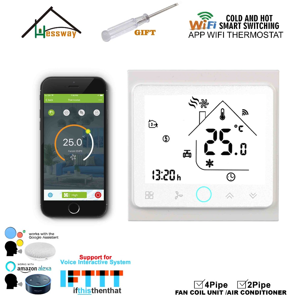 Image 4 - HESSWAY WIFI mobile APP remotely controls the home temperature control thermostat switch for fan coil heat cool-in Air Conditioner Parts from Home Appliances