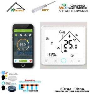 Image 4 - Lapp Mobile WIFI di shouway controlla da remoto linterruttore del termostato di controllo della temperatura domestica per il raffreddamento del Fan Coil