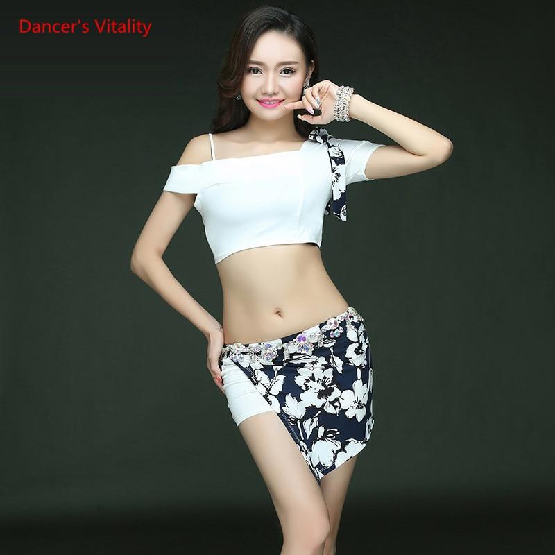 Women Belly Dance Clothes For Women Belly Dance T-shirt Girls Dance Short Skirt 2pcs Belly Dance Suit Set S,M,L