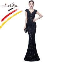 ArtSu Luxe Sequin Kralen Black Prom Gown Feestjurk Lange vrouwen Sexy Mesh Wrap Vloerlengte Mermaid Jurk Robe De Soiree rood
