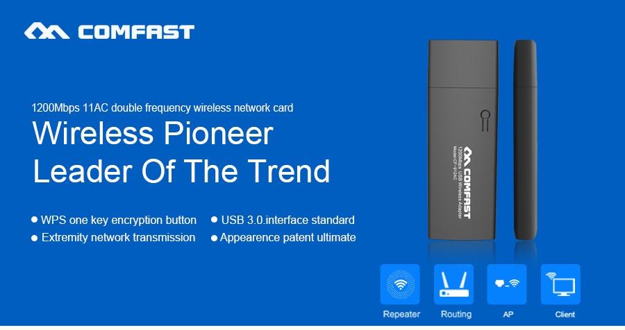 Comfast Mini Adattatore Wifi AC1200 Wireless Dual Band USB 3.0 Adapter con il Pulsante WPS per Windows XP Vista 7 8 10 Mac OS-Aggiornamento