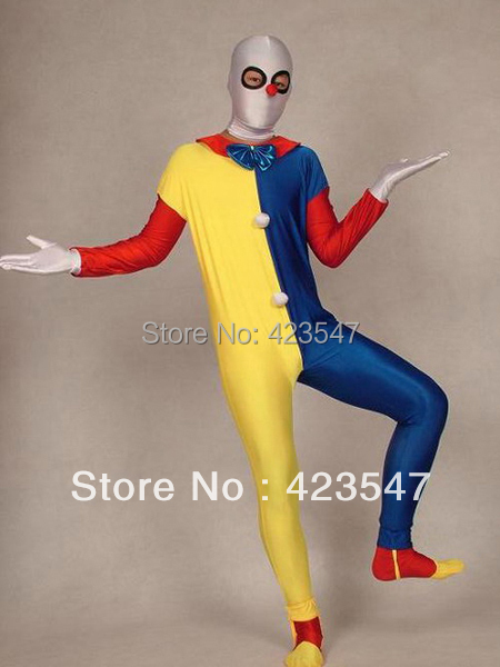 The Clown Multicolor spandex Halloween Party Cosplay zentai suit