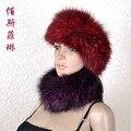 Genuine Fox fur neckwarmer punto diadema de piel de la bufanda elástico collares cabello pelucas bufanda para mujer color sólido cuello de piel
