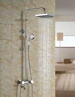 Wholesale And Retail Modern Square Chrome Finish 8 Round Rain Shower Head Faucet Tub Valve Mixer