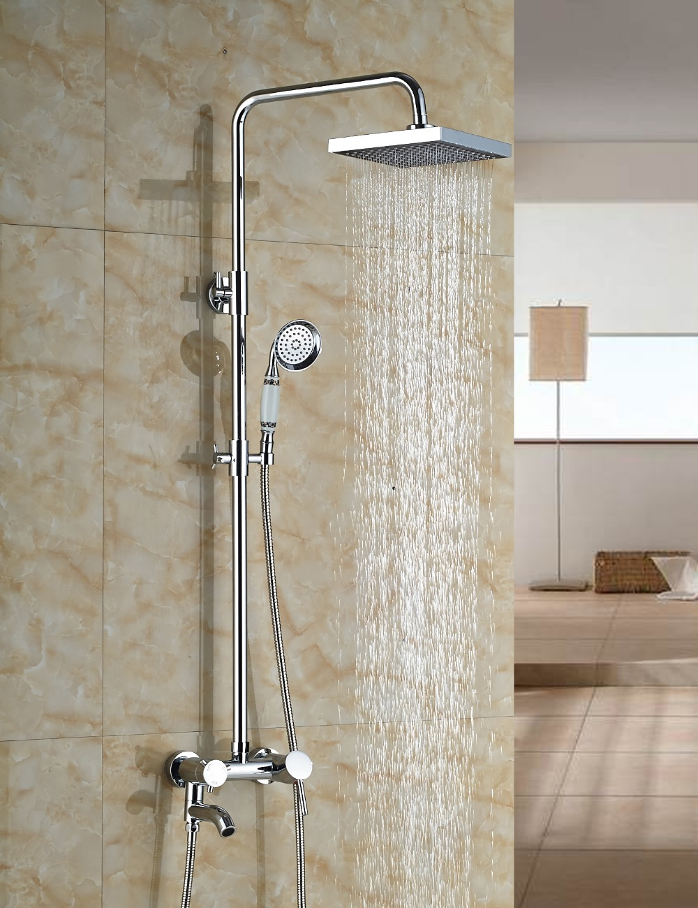 Wholesale And Retail Modern Square Chrome Finish 8 Round Rain Shower Head Faucet Tub Valve Mixer Tap W/ Hand Shower kemaidi new modern wall mount shower faucet mixer tap w rain shower head