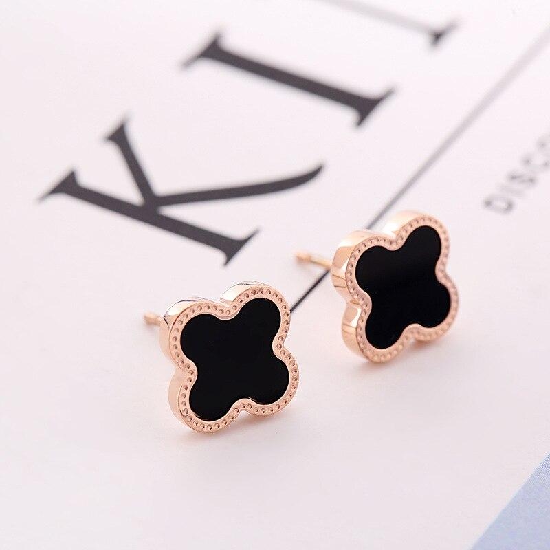 Flower And Shells Rose Gold Stainless Steel Stud Earrings For Women Men Girls Titanium Steel Earrings Wholesale Piercing Jewelry