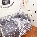 3 pçs/sets 100% algodão listras cinza clássico estrelas baby bedding conjunto Bebê Jogo de Cama Fronha de Cama Tampa Da Folha Da Colcha de Sarja