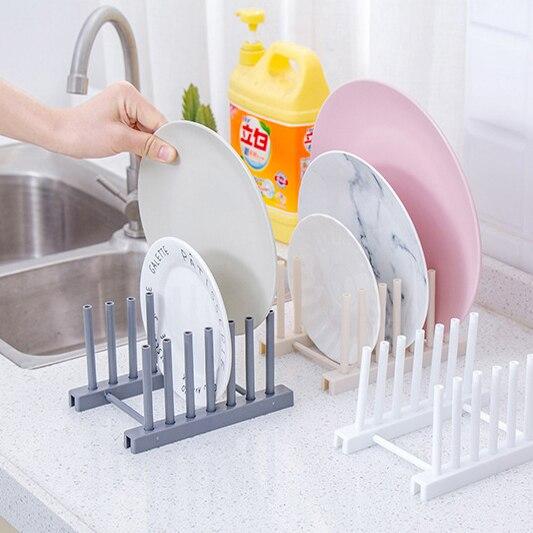 Kitchen Racks White Plastic Dish Lid Holder Kitchen Supplies Storage Rack Drain Holder Storage Organizers