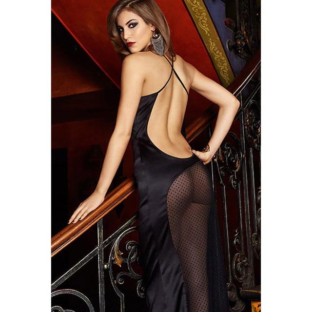 The Qixi Festival Valentine V collar Sleeveless Black Strap back side zip transparent hollow bath robe 60344
