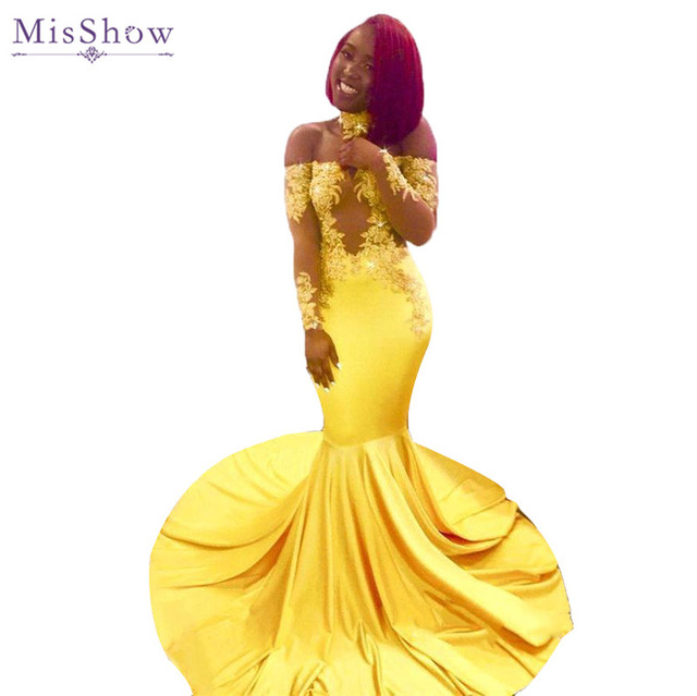 e62cd877b5c Sexy African Yellow Mermaid Prom Dresses 2019 Off The Shoulder Cut Out Lace  Appliques Long Prom Dress Evening Party Gowns