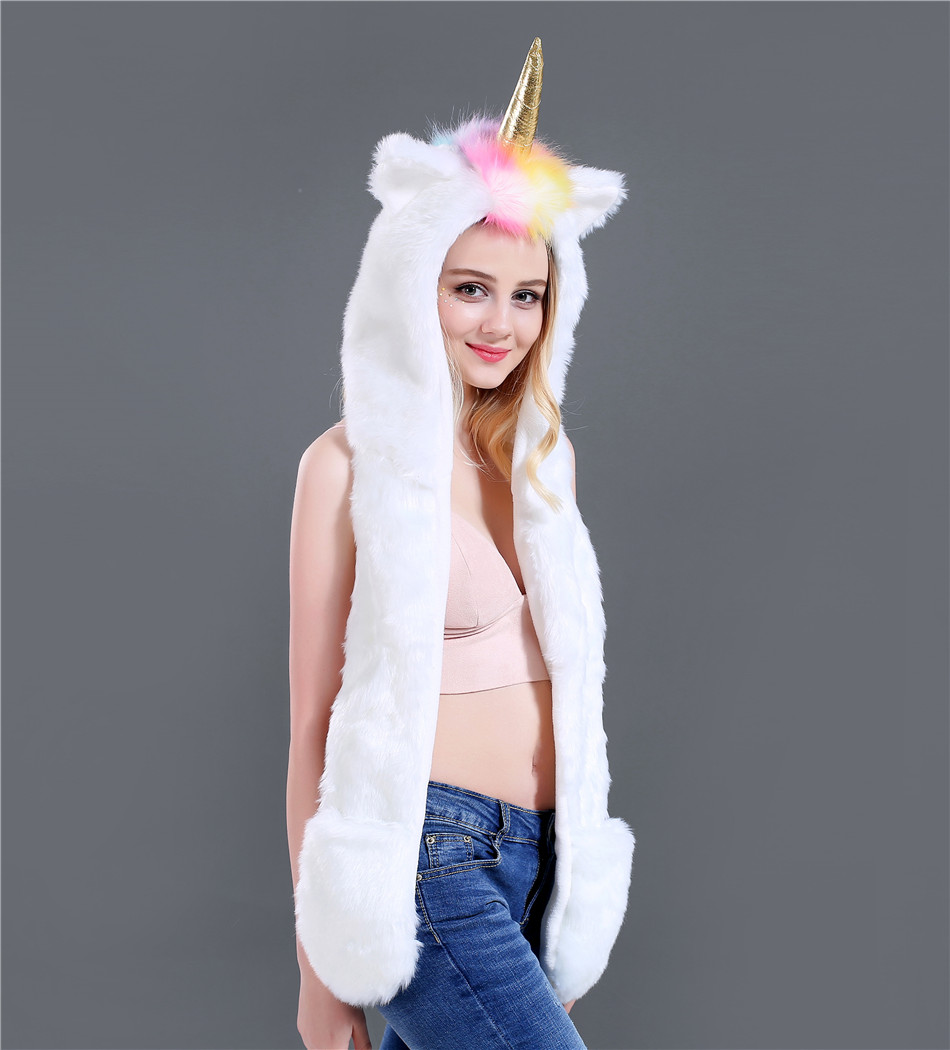 New Fashion Autumn And Winter Unicorn Three Pieces Set Faux Fur Hat Plush Cartoon Animal Hat Hat Scarf Gloves One SN51 (5)