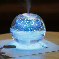 500ml air humidfier USB Desktop Aroma Diffuser Ultrasonic Crystal Night Lamp Projector Mist Maker LED  For Home