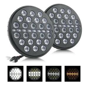 Image 2 - Светодиодный рабочий светильник MICTUNING, 2 шт., 7 дюймов, 80 Вт, ДХО, дневные ходовые огни, световой поток, янтарный сигнал поворота для J eep Wrangler